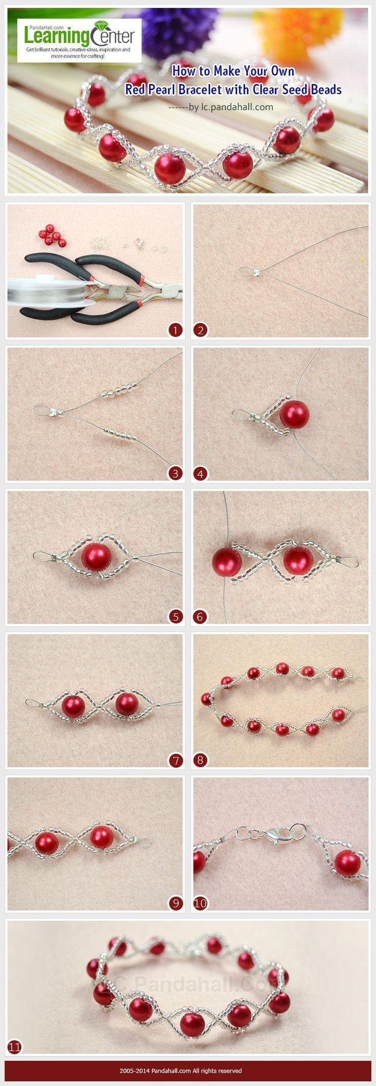 How to Make Your Own Red Pearl Bracelet with Clear Seed Beads   See more about Pearl Bracelets, Seed Beads and Bracelets.