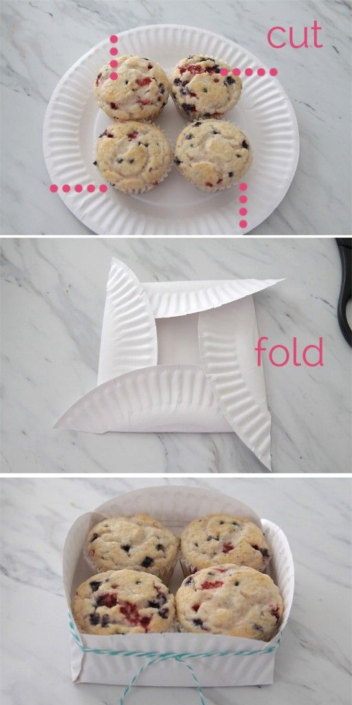 A muffin holder made from a paper plate, how cute & clever!