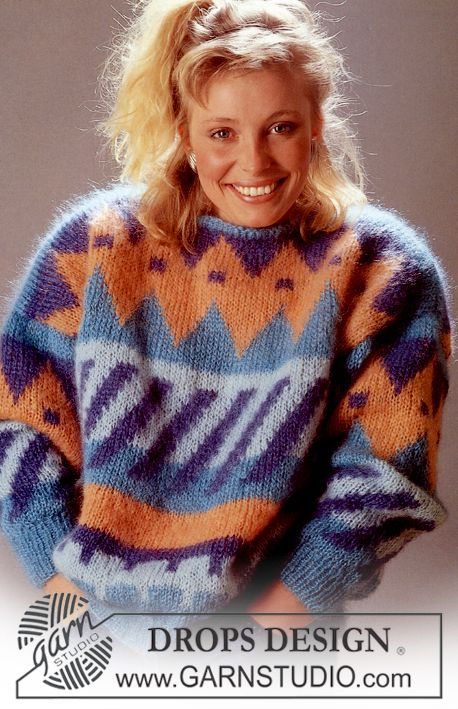 """DROPS jumper with pattern borders in """"Vienna"""". Size M-L. - Free pattern by DROPS Design"""