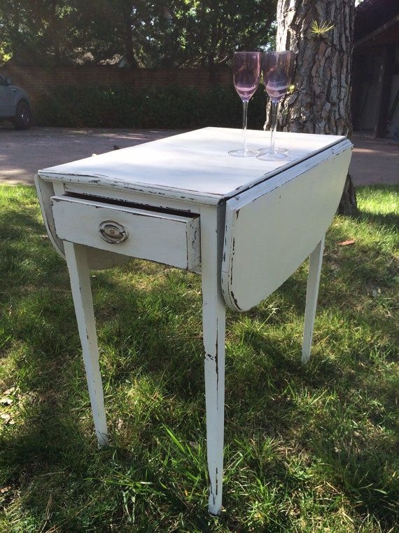 Vintage Mid Century Distressed Shabby Chic Drop Leaf End Table, Foyer Table,  Bedside Table With Drawer.