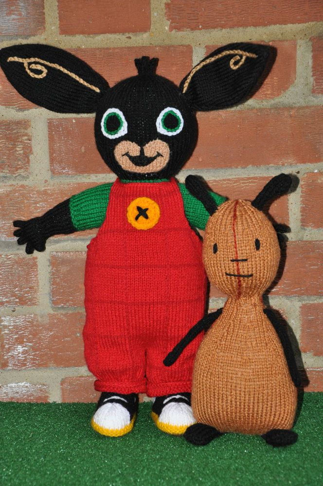 Cartoon Knitting Patterns : Hand knitted toys dolls bing and flop from childrens tv