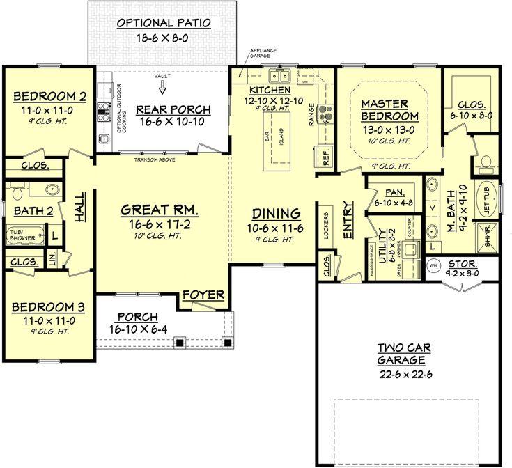 Farmhouse Style House Plan - 3 Beds 2 Baths 1609 Sq/Ft Plan #430-77 Floor Plan - Main Floor Plan - Houseplans.com