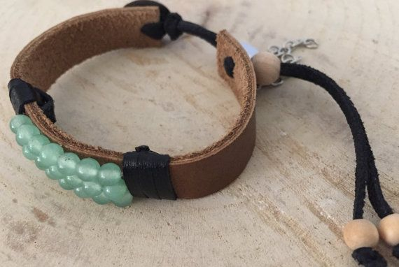 Single Leather and Gemstone Cuff van StackedandStamped op Etsy