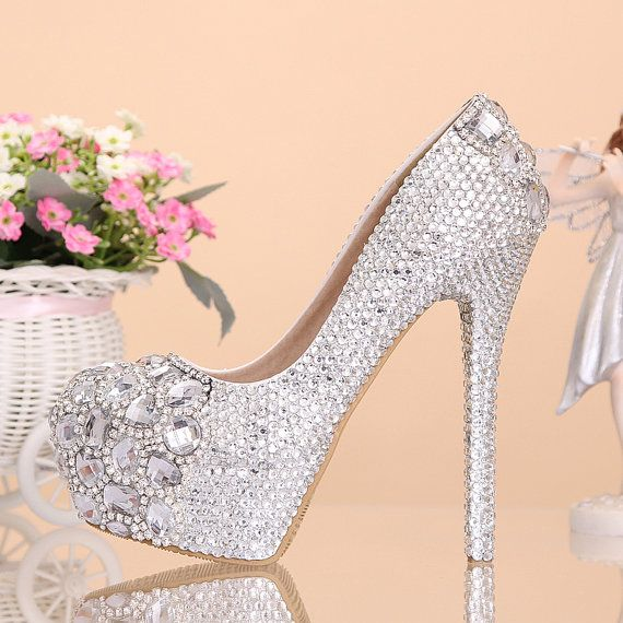 Love crystal diamond wedding shoes shoes high with by Queenheels