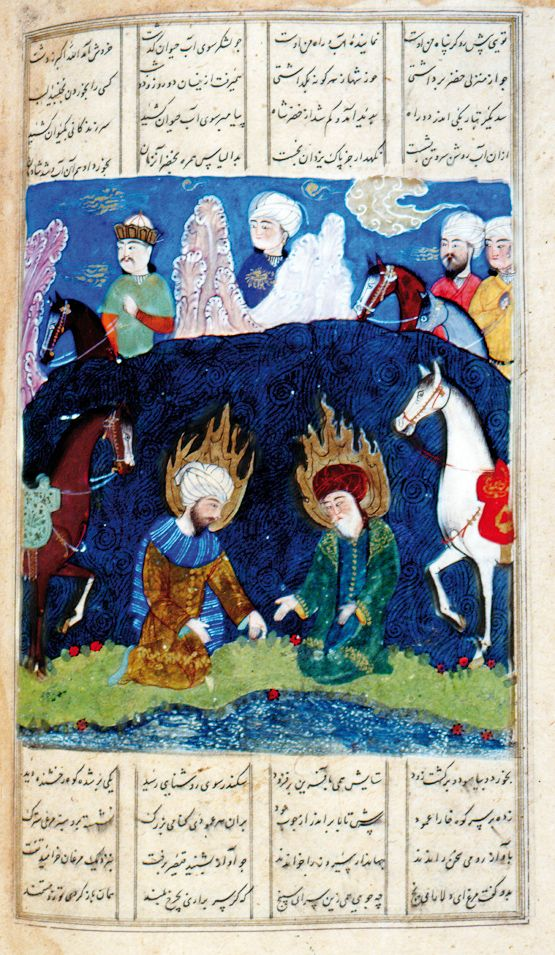 Eskandar (Alexander the Great) was informed that in the Land of Darkness, where the sun sets, there was a spring of the Water of Life, which bestowed immortality. He took the prophet Khezr as his guide, giving him one of two rings that would light up when near water. Eskandar lost his companion in the darkness. Khezr found the water and bathed in it, while Eskandar passed on to a mountain where a talking tree foretold his doom.