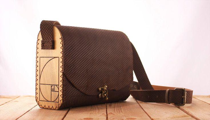 Brown Wood Leather Bag Fibonacci | Leather Bag | Shoulder Bag | Fibonacci Bag | Gift for her | Women's bag | Leather Purse | Unique |