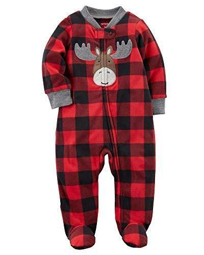 372ed8c145c5 Carter's Baby Boys' Plaid Moose Zip Up Fleece Sleep And Play | Baby ...