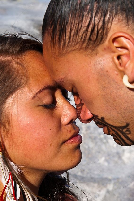 """Honi-Hongi """"The honi is a Polynesian greeting in which two people greet each other by pressing noses and inhaling at the same time. This is a very honorific as this represents the exchange of ha--the breath of life, and mana--spiritual power between two people. This act and the concepts behind it are very unusual to western audiences and care should be taken to explain the spirituality and sacredness of this simple act of greeting."""" """"In ancient times Hawaiians greeted each other by touching…"""