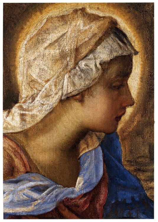 Jacopo Robusti, called Tintoretto:  Nativity  (detail of the head of the Virgin, late 1550s, reworked 1570s, oil on canvas)