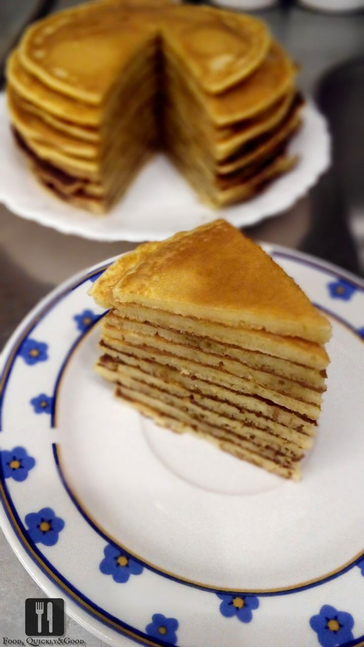 American pancakes cake with peanut butter and honey