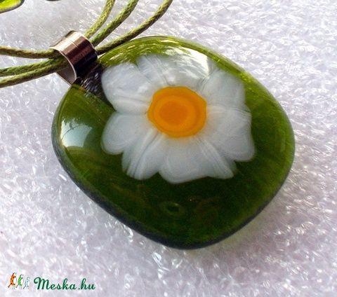 Meska - Húsvéti nárcisz  virágos  üvegékszer  ajándék névnapra, születésnapra Dittiffany kézművestől