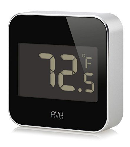 Elgato Eve Degree, Temperature & Humidity Monitor with Apple HomeKit technology, Bluetooth Low Energy  Know your home: track temperature, humidity, and air pressure with precision  At a glance: view temperature or humidity directly on the LCD display   Elegantly crafted:anodizedaluminum body suitable for outdoor use  Gain insights: view your data by day, month or year  HomeKit-enabled: unparalleled ease of use and advanced security
