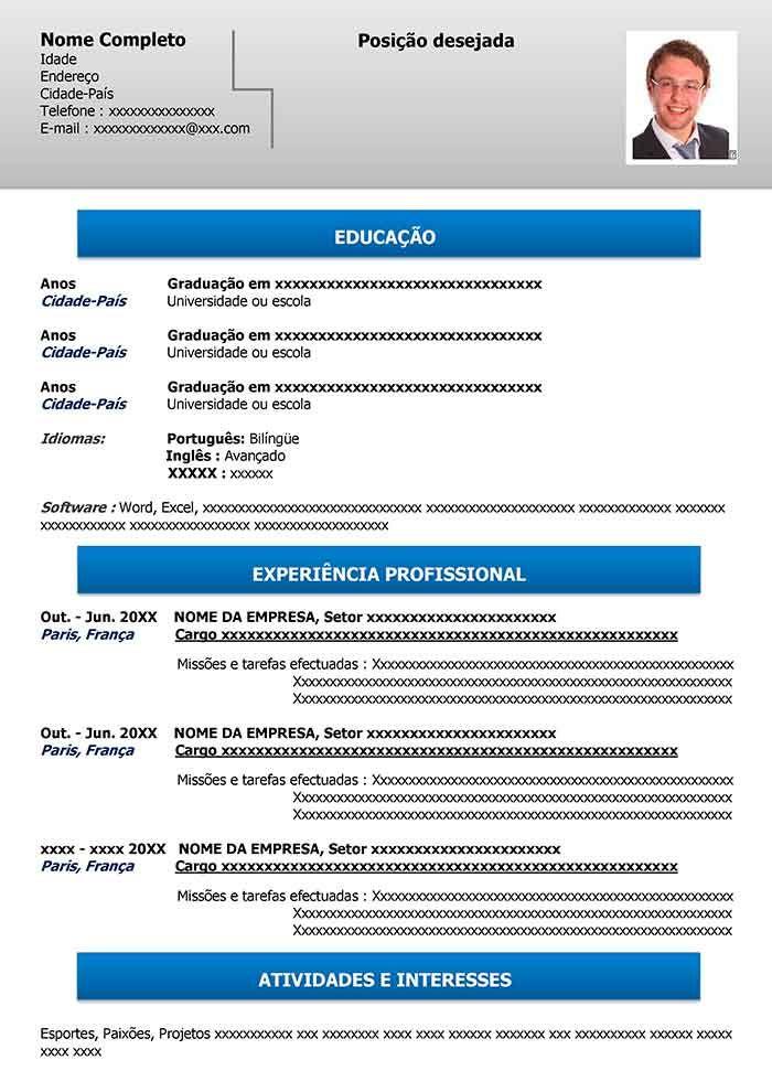 Modelo De Curriculo Online Gratuito Para Word Curriculo Online