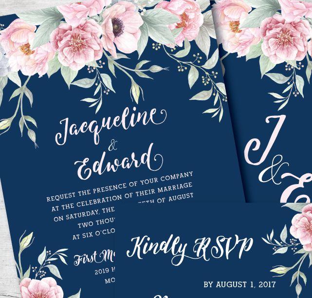 Navy And Blush Pink Wedding Invitation By Posh Paper