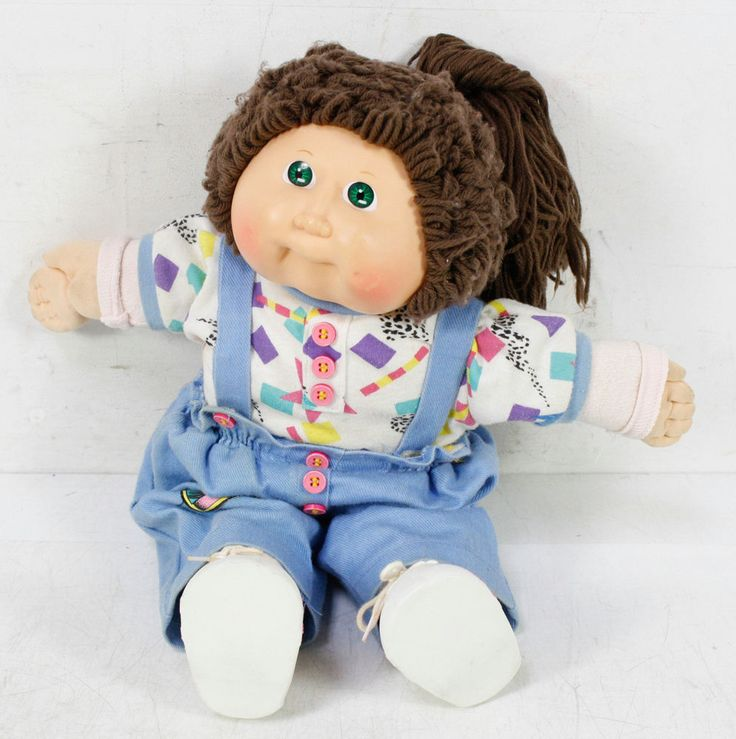 Vintage Cabbage Patch Doll Cpk  Green Eyes Brown Hair