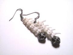 Vertebrae Earrings with pewter roses. Bone Jewelry made from Rattlesnake vertebrae bones.