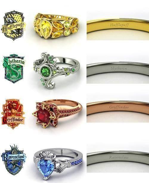 Hogwarts rings. Ravenclaw has a claddagh ring!