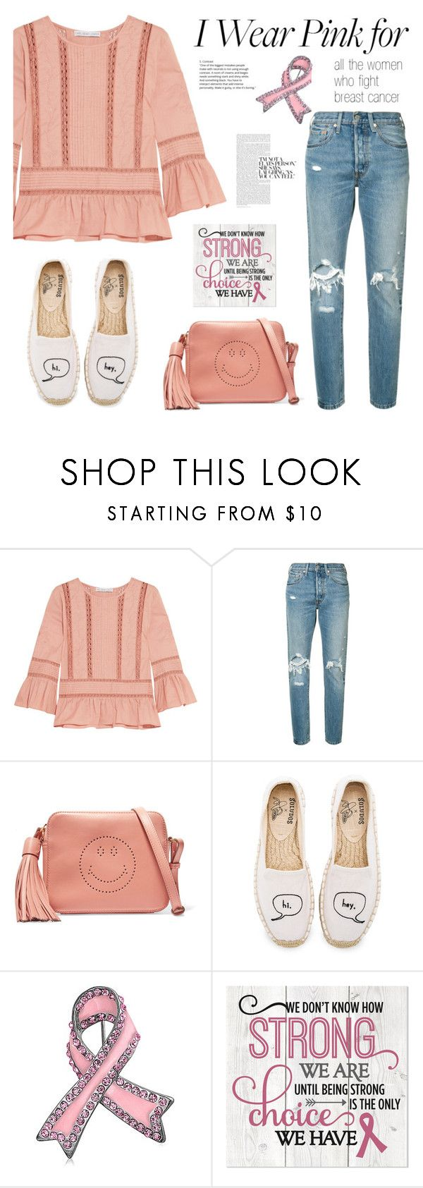 """""""Stay Strong"""" by rafaela-style ❤ liked on Polyvore featuring Chelsea Flower, Levi's, Anya Hindmarch, Soludos, Bling Jewelry and breastcancerawareness"""