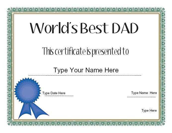 Fresh Best Dad Certificate Template In 2021 Birthday Card Printable Fathers Day Cards Dad Day