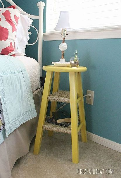 side table repurposed from barstool, bedroom ideas, home decor, painted furniture, repurposing upcycling, To start I primed the stool with a spray primer I then gave it a couple coats of a yellow spray paint