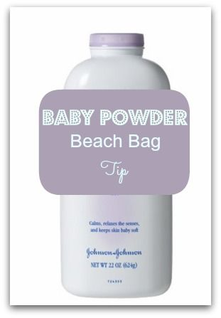 Did you know that Baby Powder is a MUST HAVE for your Beach Bag?! It completely removes sand from your body without using water! You can also use a soft-bristled brush to remove excess sand, but you really only need the baby powder! You can also put a small amount in your hand and apply it to your scalp, then brush the sand out of your hair!!