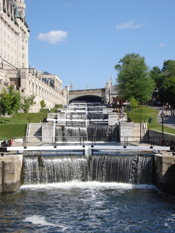 Ottawa, Canada - the Rideau locks next to the Chateau Laurier (left) - leading up to the Rideau river.--MReno