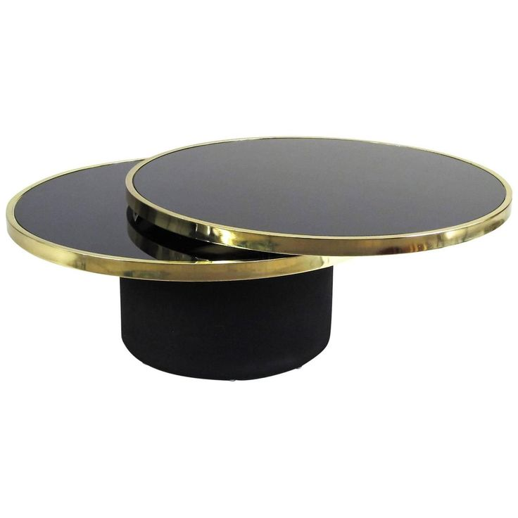DIA Round Swivel Top Black Glass Coffee Table | From a unique collection of antique and modern coffee and cocktail tables at https://www.1stdibs.com/furniture/tables/coffee-tables-cocktail-tables/