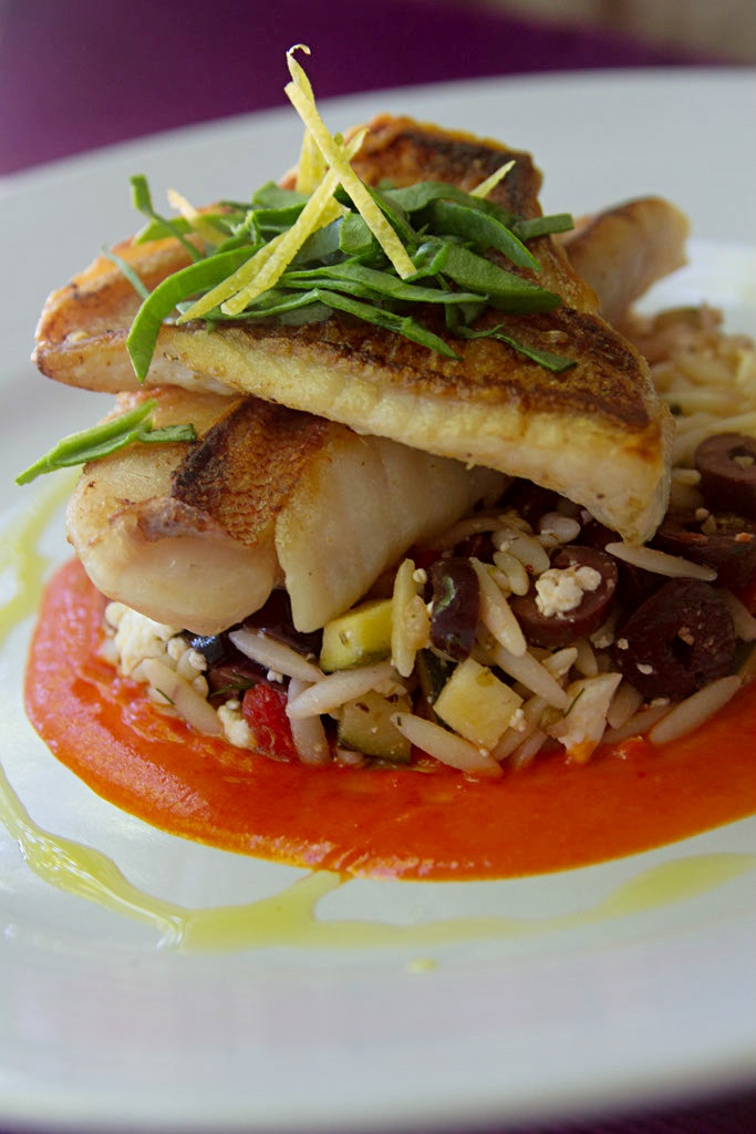 Pan Seared Ocean Perch w/ Greek Orzo & Red Pepper Lemon Emulsion