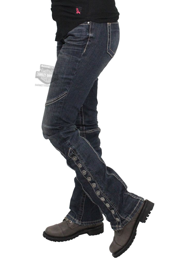 Harley-Davidson® Womens Curvy Convertible Leg with Snaps Mid-Rise Blue Jeans 96030-17VW