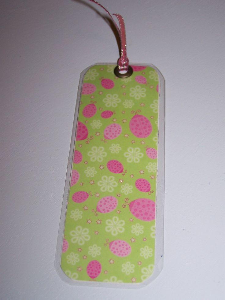 laminated paper bookmark (rd) - ladybugs
