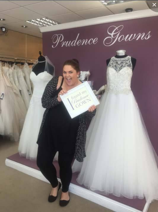 Our new #bride Harriet found her #weddingdress in our #Plymouth store today. YAY! #DressingYourDreams #PrudenceGowns