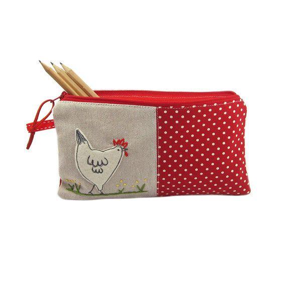 Large Pencil Case, Red Pencil Case, Animal Pencil Case, Cute Pencil Case, Girls Pencil Case, Pencil Bag, Hen Chicken