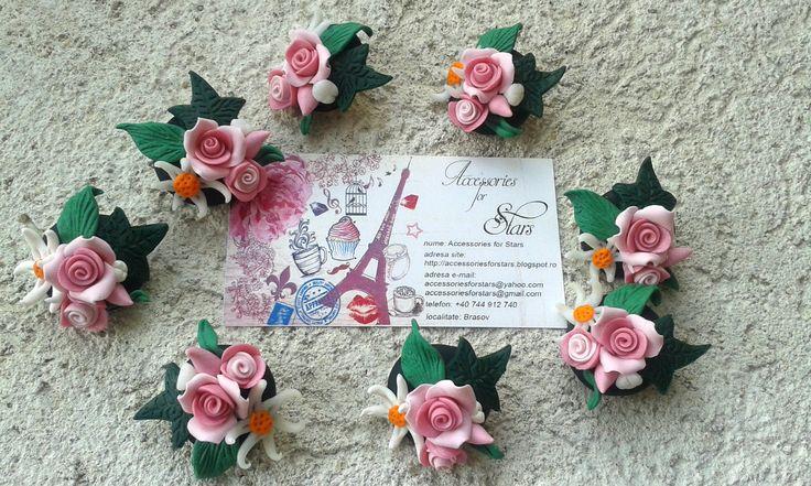http://accessoriesforstars.blogspot.ro/2015/02/brose-pink-roses.html #brooches #roses #pink #gradient #green #leaf #accessoriesforstars #handmade #polymer #daisy #original #unique