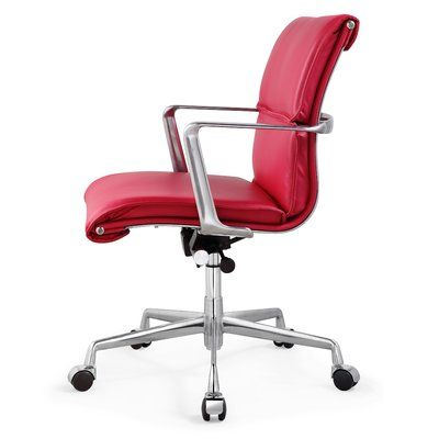 Meelano Leather Desk Chair Color: Pink, Frame Finish: Polished Aluminum