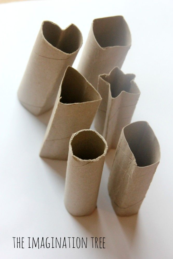 DIY shape stampers from cardboard tubes, shape hunt around the house and stamps in paint