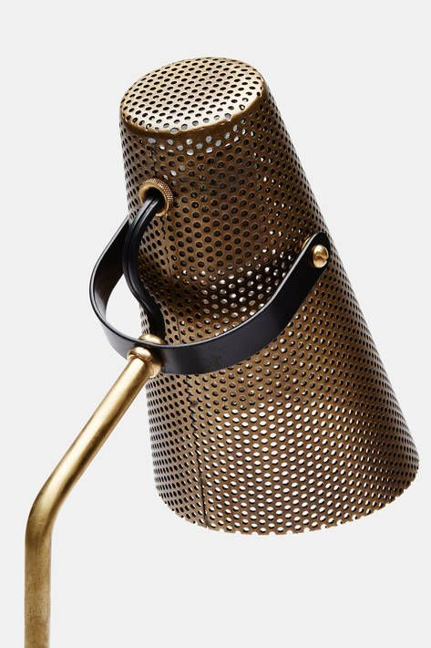Atelier De Troupe — Eperon Black And Brass Table Lamp With Perforated Shade