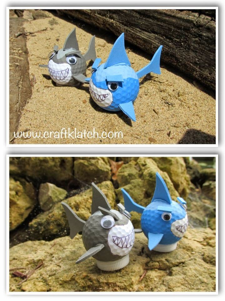 craft, crafts, crafing, shark, sharks, shark craft, shark week, sharkweek, craft ideas, idea, ideas, golf ball, recycling, diy, recycling craft, recycle
