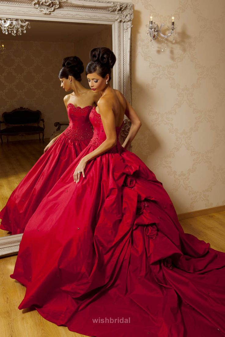 Beaded Ball Red Wedding Dress in Big Picked Up Skirt and Chapel Train
