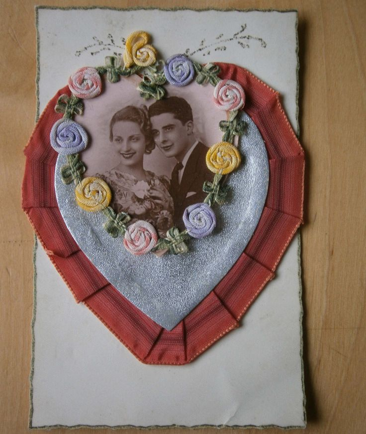 Vintage valentines card. French 1940's ribbon and photograph montage by ArtAndTradition on Etsy