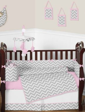 Pink and grey chevron baby bedding