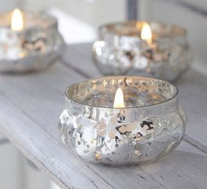 Antique Silver Glass Tea Light Candle Holder by WeddingBoxWhatNots