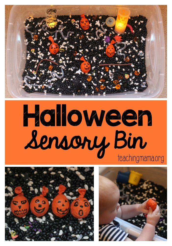 A festive Halloween Sensory Bin for children of all ages to play with!