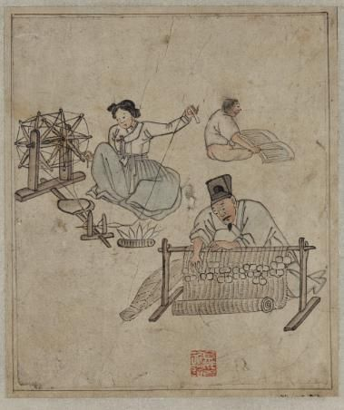 """Weaving a Mat & Spinning a wheel(베틀 & 물레질)"" painted by Kim Hong-do in the late 18th century."