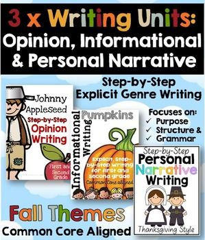 Fall writing: Fall writing units for first and second grade.This HUGE bundle includes a step-by-step opinion writing, informational writing and personal narrative writing unit. To view the preview for each file click through to these links:  Johnny Appleseed Opinion Writing UnitPumpkin Themed Informational WritingThanksgiving Personal Narrative WritingSave more than 20% off when purchasing this bundle.  1.