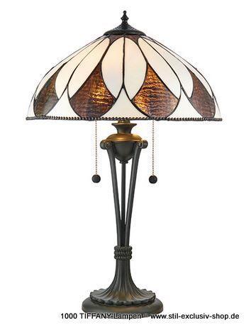 40ø Helle TIFFANY-Tisch-Lampe, Serie ARAGON.  40cm ø. 62cm h. 2 x E27, 60 W.               mit praktischer Zug-Schaltung !  ein wunderschönes, dezentes Design mit geschwungenen Linien und Tiffany-Glaseinlagen in dezenten Bronze- und Cremetönen. Gepaart mit einer bronzefarben lackierten Fassung und kompatibel mit LED-Lampen