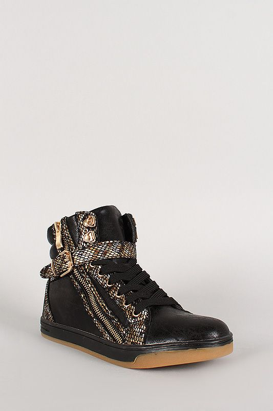 Liliana Faux Snake High Top Lace Up Sneaker. #Vegan #Shoes