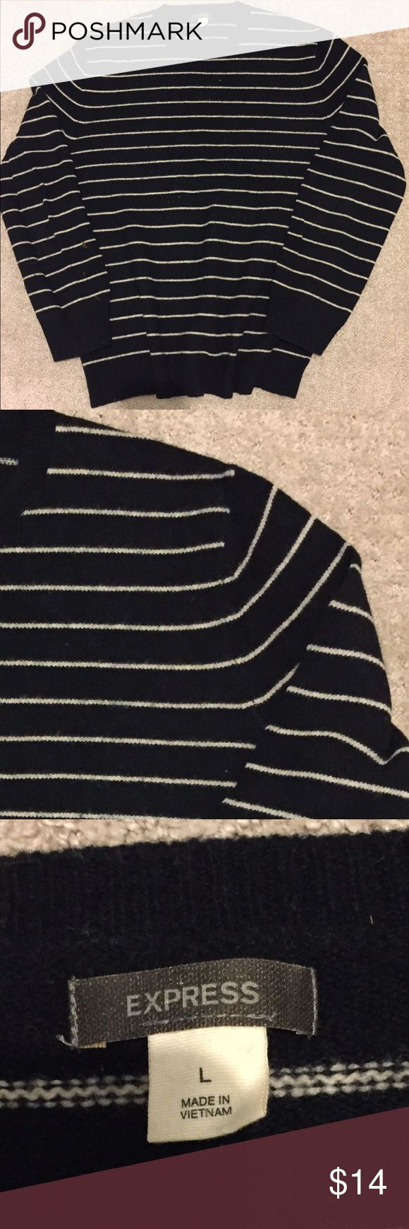 Express wool sweater Mens wool black with white stripe wool sweater Express Sweaters Crewneck