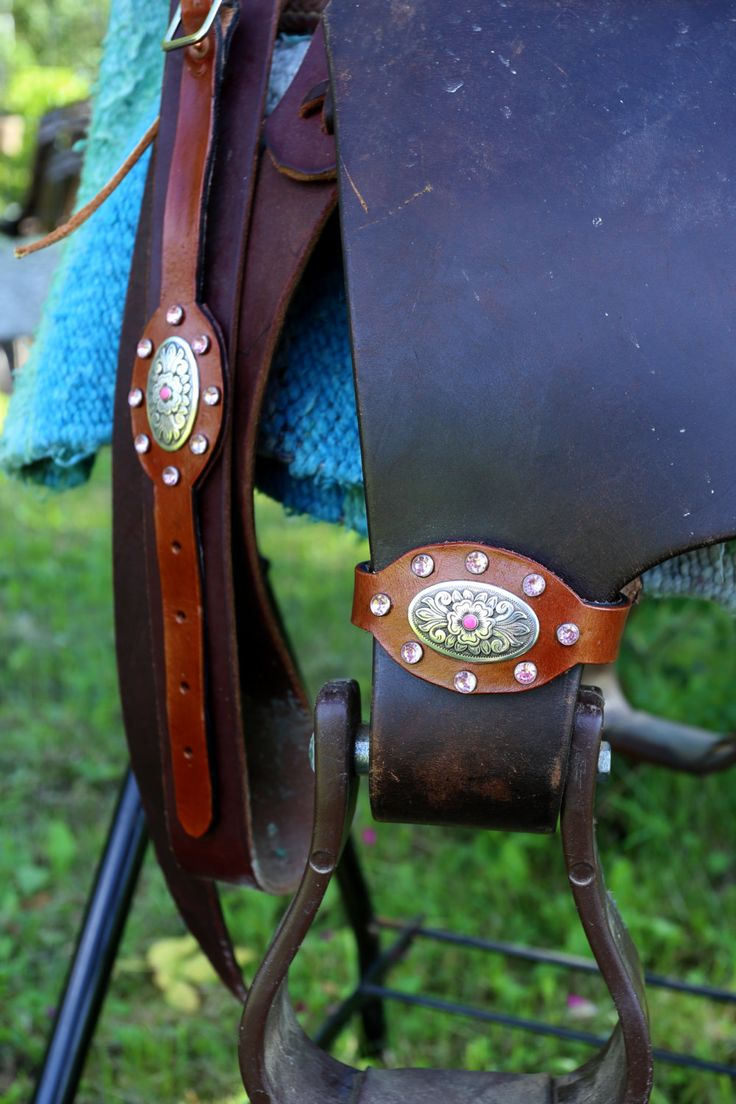 Pink Accented Leather Stirrup Hobbles by KellysLeatherDesign on Etsy