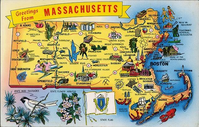 massachusetts  postcard | postcard - Massachusetts map | Flickr - Photo Sharing!