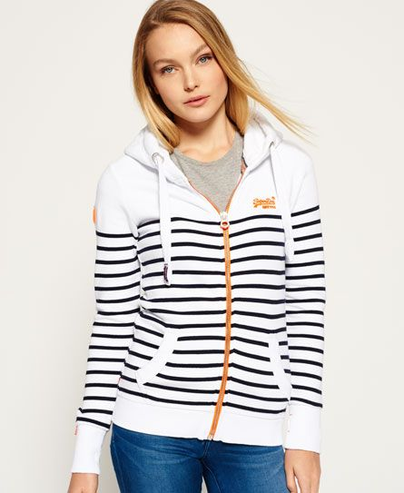 Superdry Sweat zippé à capuche Sun & Surf  Blanc